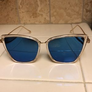 Accessories - Clear/gold sunglasses with blue mirrored lenses